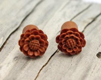Fake Plugs Post Earrings Wooden Earrings Spiral Tribal Fake Gauge Earrings - Gauges Plugs Bone Horn - FP001 W G1