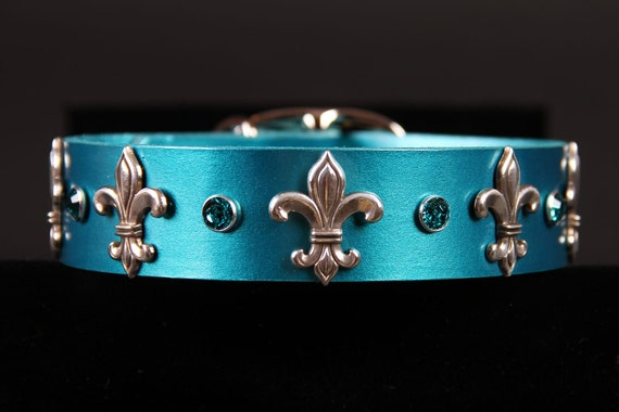 Leather Fleur De Lis Dog Collar