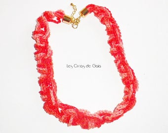 Necklace • Crochet handmade cotton Strawberry colored • spirit of nature jewelry and colorful