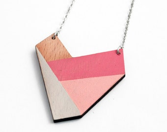 Geometric necklace, wooden heart shape pendant - nude, pale rose, pink, natural wood - minimalist, modern jewelry - color blocking