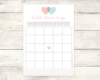 bridal shower bingo game card printable DIY pink aqua blue hearts wedding shower bingo bridal shower digital games - INSTANT DOWNLOAD