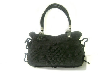 Handmade Black  Knit Bag, Crochet  shoulder bag- crochet bag hobo , black crochet bag , Gerard darel Dublin bag , Crochet bag chunky