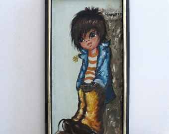 70's Oil Painting Boy with Big Eyes Monmartre Framed