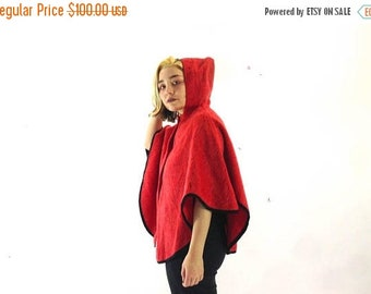 70s Vintage Red Wool Cape / Made in England / Equestrian Riding Jacket / Hooded Cape Coat / Red Wool Poncho Cape / Red Wool Hooded Coat M