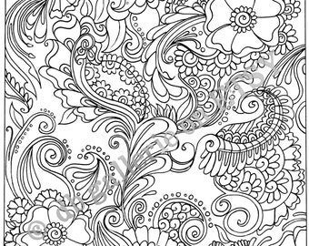 Adult Coloring Poster - Funky Flower Garden print, Coloring Print, Coloring,