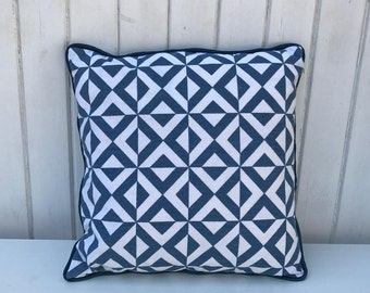 Blue and White Geometric Cushion Cover