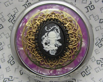 Compact Mirror Skull and Dragon On Purple Comes With Protective Pouch Gothic Compact Mirror