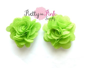 "LIME GREEN Burlap Flowers- 2.5"" Burlap Flower- You Choose Quantity- Fabric Flower- Flowers- Burlap Flower- Puff Flowers"