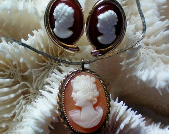 Cameo Pendant with Pierced Cameo Earrings - 3527