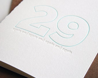 SALE Letterpress Birthday Card - 29 again