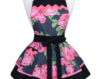 Ruffled Retro Apron - Pink Rose Floral Kitchen or Wedding Apron - Womens Sexy Cute Pinup Apron with Pocket