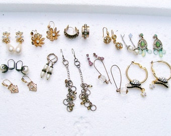 "13 Pair PIERCED EARRING LOT Rhinestone Pearl Dangle Drop Crystal  3/8"" - 3"" Wearable Destash  .mm"