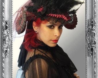 Head dress Ruby headpieces, feathers, hat, WGT, Mera Luna, Fascinator, unique, headgear