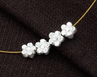 4 of 925 Sterling Silve Little Flower Beads 5mm. :th2462