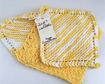 Set of 3 Washcloths in Yellow
