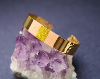 Bracelet manchette NOVA - tissage en coton en rose