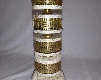Mid Century cream Gold Splatter brass Metal Mesh Accent Table Lamp