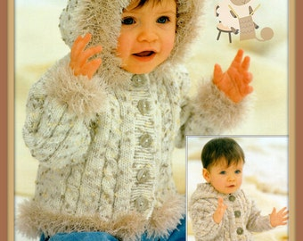 PDF Knitting Pattern -  2 Cabled Jacket/Cardigans with Hoods - 16 to 26 Inches - Instant Download