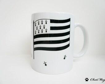 Mug, drapeau, drapeau breton, Bretagne, breton, drapeau Bretagne, mug drapeau, hermine, hermine bretonne, mug personnalisé, ChatMage