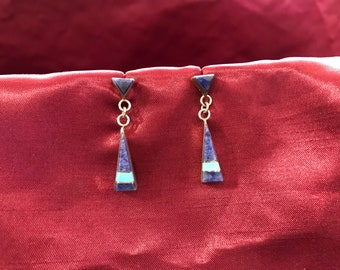 Zuni inlay sterling silver dangle earrings- Signed