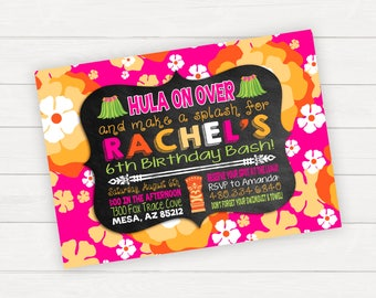 Luau Invitation Luau Birthday Party Pool Party Invitation Hawaiian Birthday Girl Birthday Birthday Invitation Birthday Pool Party