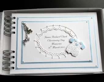 Personalised Baby Boy Christening/Naming Day AlbumWith Interleaving ,A5 Baby Suit,Charms,Boxed