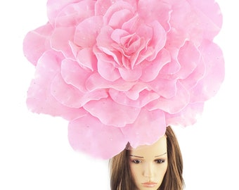 Stunning Candy Pink Parisa XL Rose Fascinator Hatinator Hat for Kentucky Derby & Ascot, Special Events With Headband