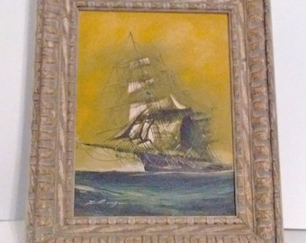 Original Oil Painting of Clipper Ship by Renato Longanesi Signed by the artist circa 1965