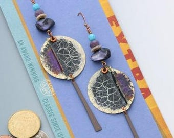 Bottle cap earrings. Recycled, upcycled bottle caps, vintage powder coated charms, purple shell, vintage Swaorvski in opaque turquoise.