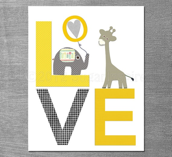 Yellow and grey LOVE nursery Art Print 8x10 Baby boy room