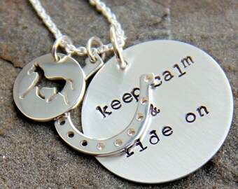 Horse Necklace, Keep Calm and Ride On, Horse Necklace, Equestrian Necklace, Horseshoe, Horse Jewelry, Wild horses Cowboy, Hampton Classic