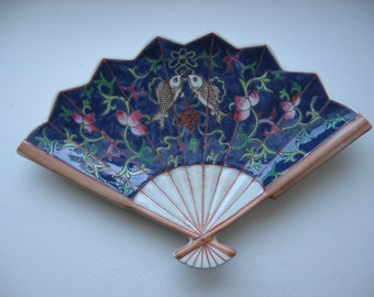 Vintage Fan Dish Hand Painted in Hong Kong//Collectible Asian Art Pottery// Vanity Accessory