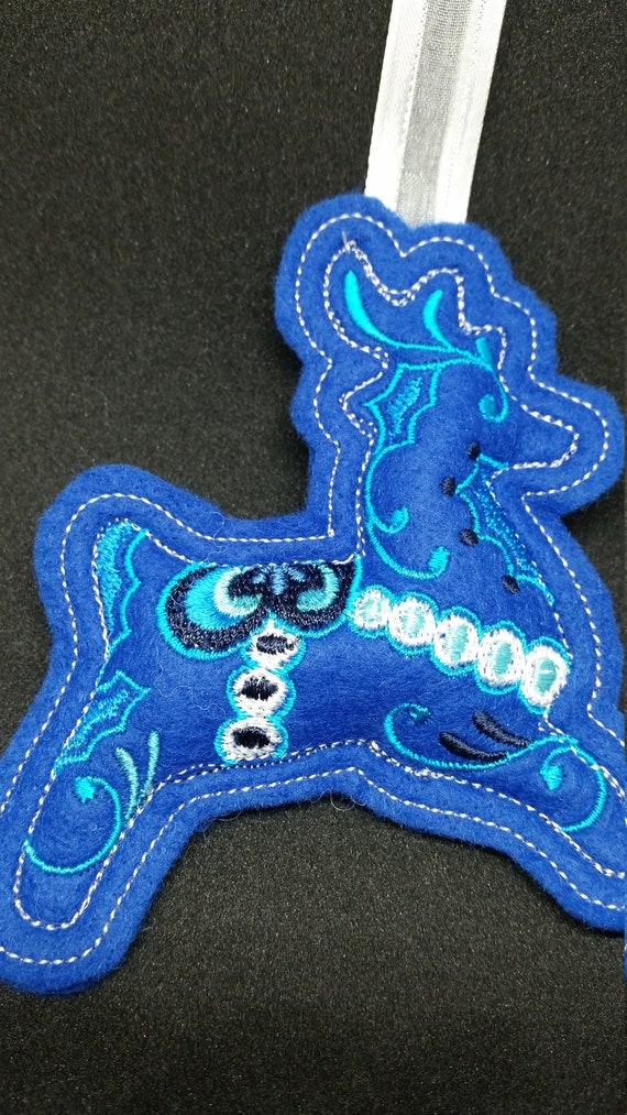 X046.     Royal blue  Reindeer Felt Christmas Tree Decoration
