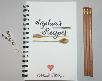Recipe Book, Personalized Recipe book, Blank Recipe Book, Recipe, Family Recipe Book, Bridal Shower Gift, Chef, Gift, Cook, Family, Kitchen
