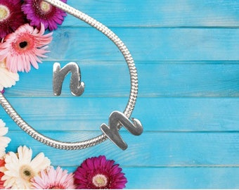 Lowercase 'n' Sterling Silver Charm Necklace With Gift Box