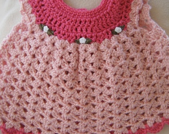 Gorgeous Pink Baby Pinafore Size 0-3 months - HANDMADE BY ME