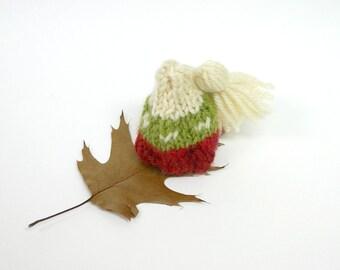 Miniature Knitted Tassel Hat- Tiny Knit Hat- Red, Green, Ecru- Hand Knitted Mini Beanie- Christmas Decor, Ski Cap, Doll, Bear