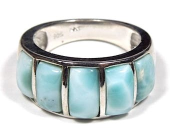 High Quality Genuine AAA Dominican Larimar Inlay 925 Sterling Silver Ring size 6 or 8