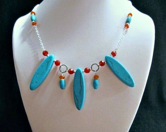 Carnelian Turquoise Necklace in Silver