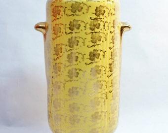 Zanesville Vase Pottery Stoneware Gold Leaf Vintage Arts Crafts Art Company Co Large