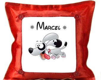Personalized with name dog red cushion