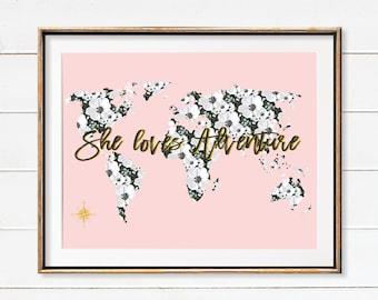 She Loves Adventure World Map Print, Black White Flower World Map Gift, Travel Theme Nursery Poster, Pink Gold Bedroom, Dorm Room For Girls