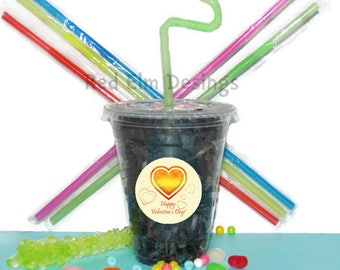 Heart Cups, Heart Party Cups, Kids Birthday Party Cups, 20 Cups, Valentine Kids Party Cups, Straws and Lids, 12 Ounce Cups