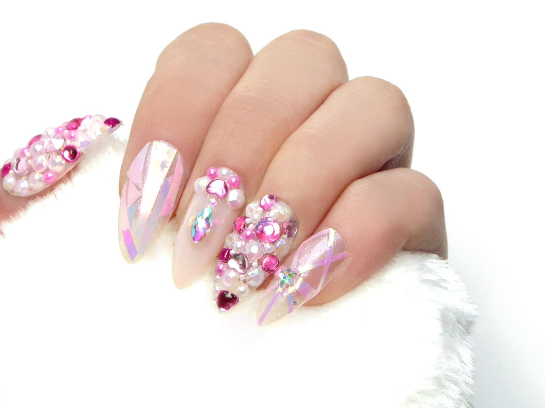 Rosa Kawaii Schmuck Nägel / künstliche Nägel drücken Sie auf