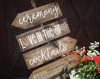 Rustic Wedding Direction Signs + Wedding Ceremony Sign + wedding Reception Sign + love in the air + party everywhere + Barn wedding + rustic
