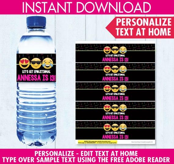 Emoji Party Water Bottle Label  Wrap Emoji Theme Birthday