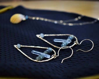 Moss Aquamarine Quartz Earrings . Inverted Teardrop Earrings . Gemstone Jewelry.
