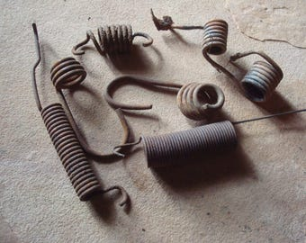 Rusty Grungy Old Metal Springs with Hooks Found Objects -  Assemblage, Altered Art, Sculpture Supply - Industrial Salvage