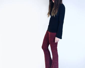 Flare Pants | Women Red Tapestry Print Flares | Bohemian Lightweight Bell bottoms | Boho Stretch Pants | Tall | L415&Co Clothing (# 415-42)