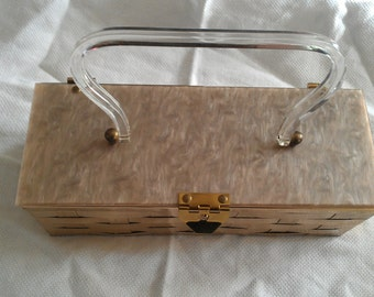 Vintage Celluloid   lucite Purse With Woven Brass
